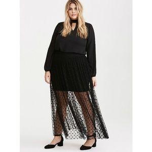 Torrid Polka Dot Mesh Maxi Skirt 00